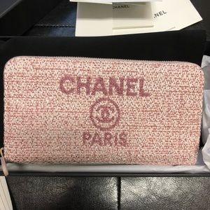 CHANEL Bags - Chanel Deauville Wallet Long Pink Raffia